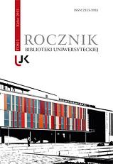 Okładka, Rocznik Biblioteki Uniwersyteckiej, t. 3, Jolanta Drążyk, Henryk Suchojad red.