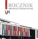 """Okładka, Rocznik Biblioteki Uniwersyteckiej"""", t. 1, Jolanta Drążyk red."""