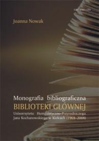 Okładka, Monografia bibliograficzna Biblioteki Głownej Uniwersytetu, Joanna Nowak