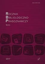 """okładka, Rocznik Bibliologiczno-Prasoznawczy"""", t. 9/20, Tomasz Chrząstek, Tomasz Mielczarek red."""