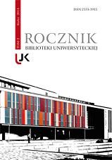 okładka, Rocznik Biblioteki Uniwersyteckiej, t. 2, Jolanta Drążyk, Henryk Suchojad, red.